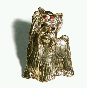 Terrier Brooch with studded Red Rhinstone & Gold Colored Plating