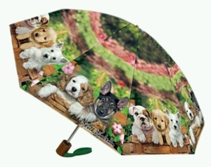 Umbrella featuring Puppies of Different Breeds