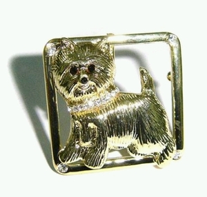Westie Brooch studded Rhinestone with Gold Colored Plating