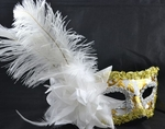 White Feather Masquerade Mask (with Gold/Silver accents)