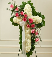 White Cross with Pink Rose