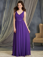 Alfred Angelo 7363L V-neck Pleated Bridesmaid Dress