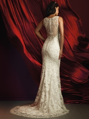 Allure Bridals Couture C366 V-neck Beaded Lace Wedding Dress