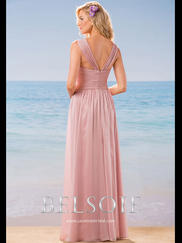 Belsoie L184012 V-neck Pleated Bridesmaid Dress