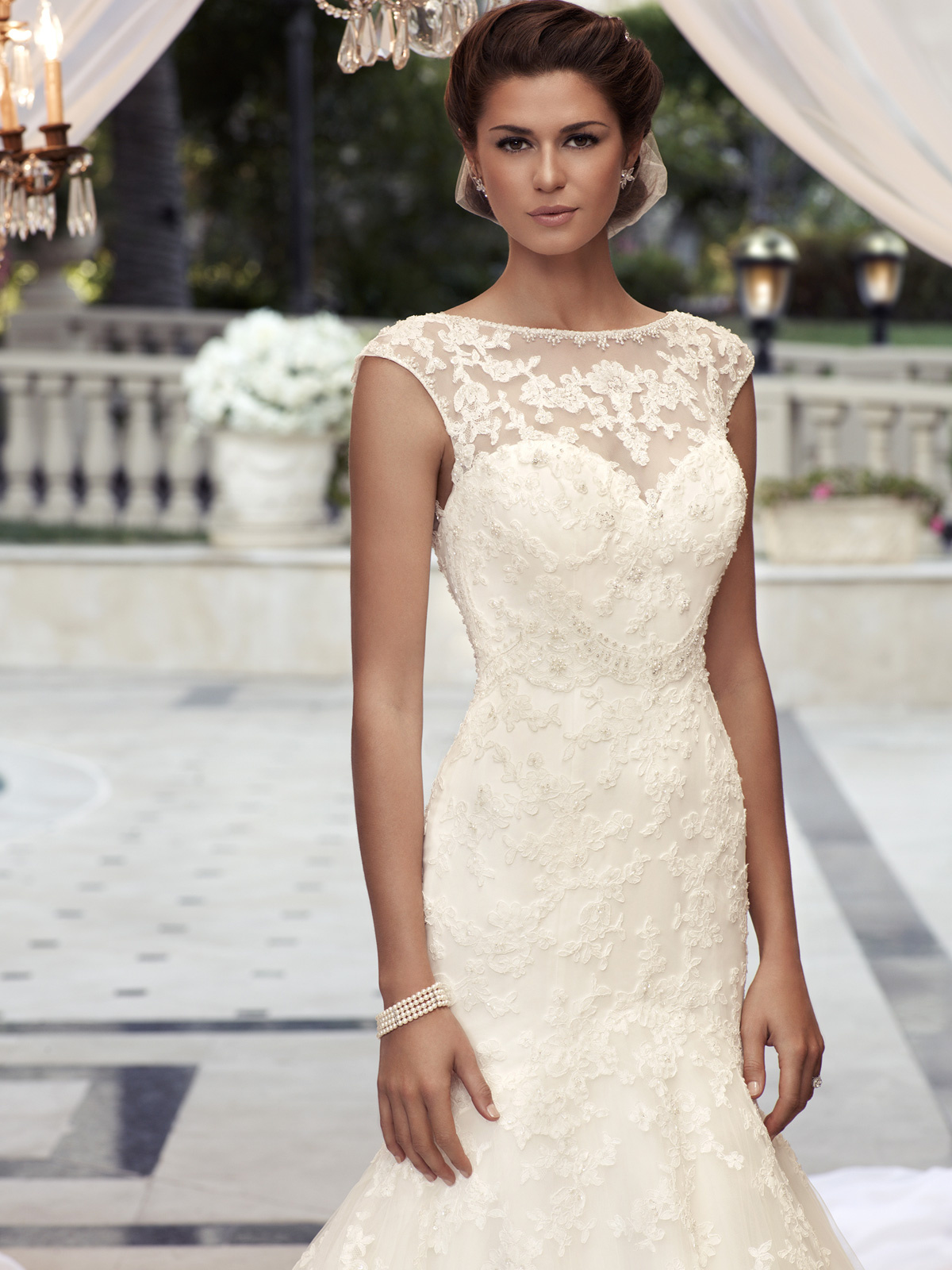 lace wedding dress with cap sleeves style d cap sleeve wedding dress Cap Sleeve Fit And Flare Casablanca Bridal Gown