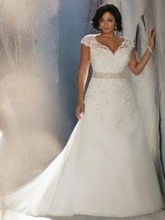 Cap Sleeve Laced Bridal Gown Mori Lee 3144