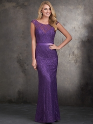 Cap Sleeved Fitted Lace Allure Bridesmaids Dress 1404