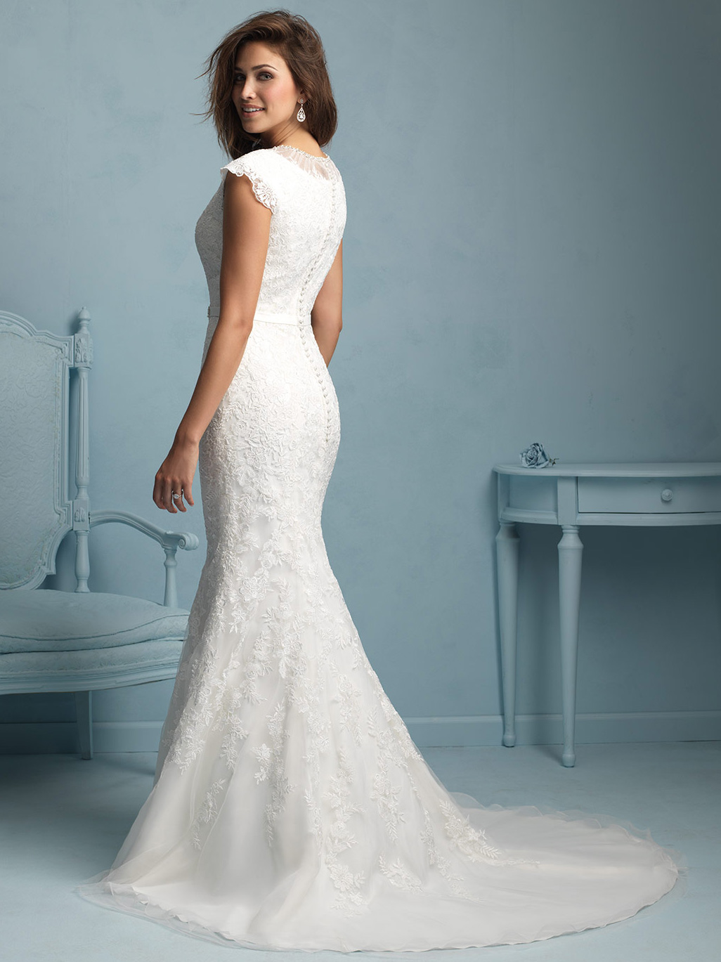 Allure Modest Form Fitting Lace Wedding Dress M534