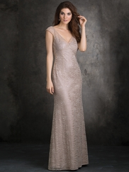 Cap Sleeved Lace Overlay Allure Bridesmaids Dress 1409