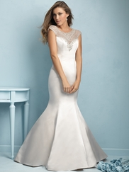 Cap Sleeves Beaded And Satin Trumpet Allure Wedding Dress 9209