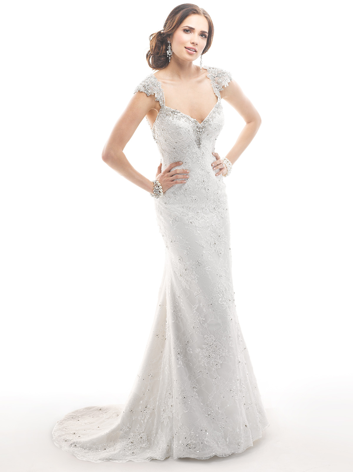 Janice Sung Wedding Cap Sleeves Beaded Bridal Gown Maggie Sottero Brandy