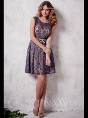 Cap Sleeves Lace Short Christina Wu Occasions Bridesmaid Dress 22658