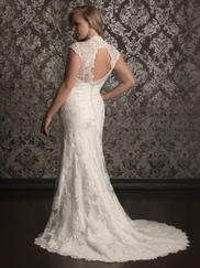 Cap Sleeves Laced And Charmeuse Bridal Gown Allure Women W315
