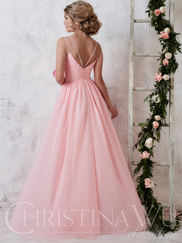 Christina Wu Celebration 22732 V-neck Pleated Bridesmaid Dress