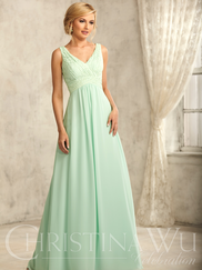 Christina Wu Celebration 22734 V-neck Lace Bridesmaid Dress