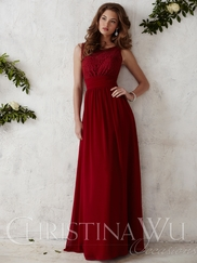 Crew Neck Chiffon A-line Christina Wu Occasions Bridesmaid Dress 22675