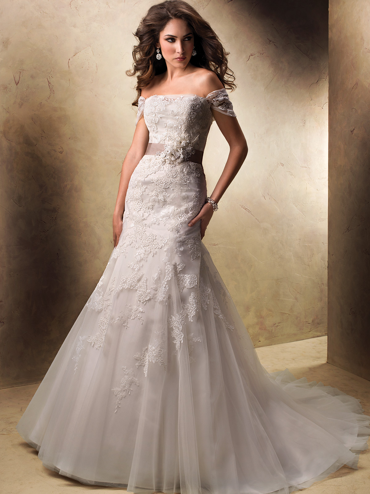 lace cap sleeve wedding dress maggie sottero detachable wedding dress Maggie Sottero Lace Wedding Dress 93