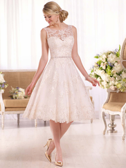 Essense Of Australia D2101 Illusion Neckline Wedding Dress