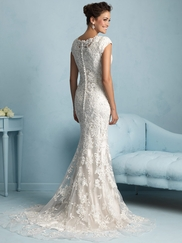 Form-Fitting Lace Allure Modest Wedding Dress M536