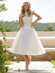 High Lace Neckline Bridal Gown Mori Lee 6749
