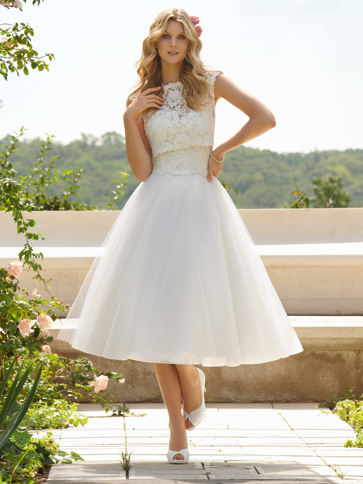High Neckline Tea Length Voyage Bridal Gown 6749