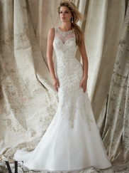 High Neck Beaded Fit And Flare Angelina Faccenda by Mori Lee Wedding Dress 1330