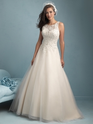 High Neck Lace Full A-line Allure Wedding Dress 9200