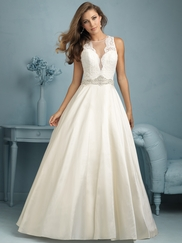 High Neck Lace With Taffeta Ball Gown Allure Wedding Dress 9207