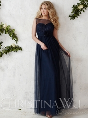 High Neck Sequined Floor Length Christina Wu Occasions Bridesmaid Dress 22683