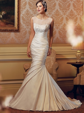 High Neck Sheer And Beaded Bridal Gown Sophia Tolli Shae Y11405
