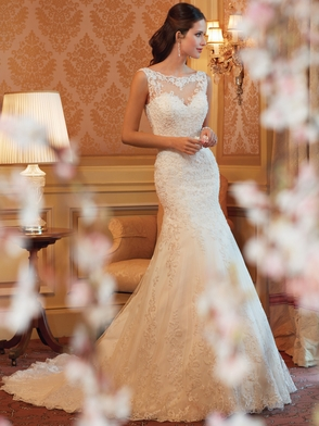 High Neck Sheer And Lace Bridal Gown Sophia Tolli Mirri Y11419