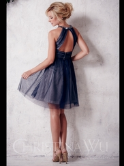 High Neck Tulle Short Christina Wu Occasions Bridesmaid Dress 22661