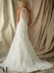 High Neckline Sheer Lace Fit And Flare Angelina Faccenda by Mori Lee Wedding Dress 1323