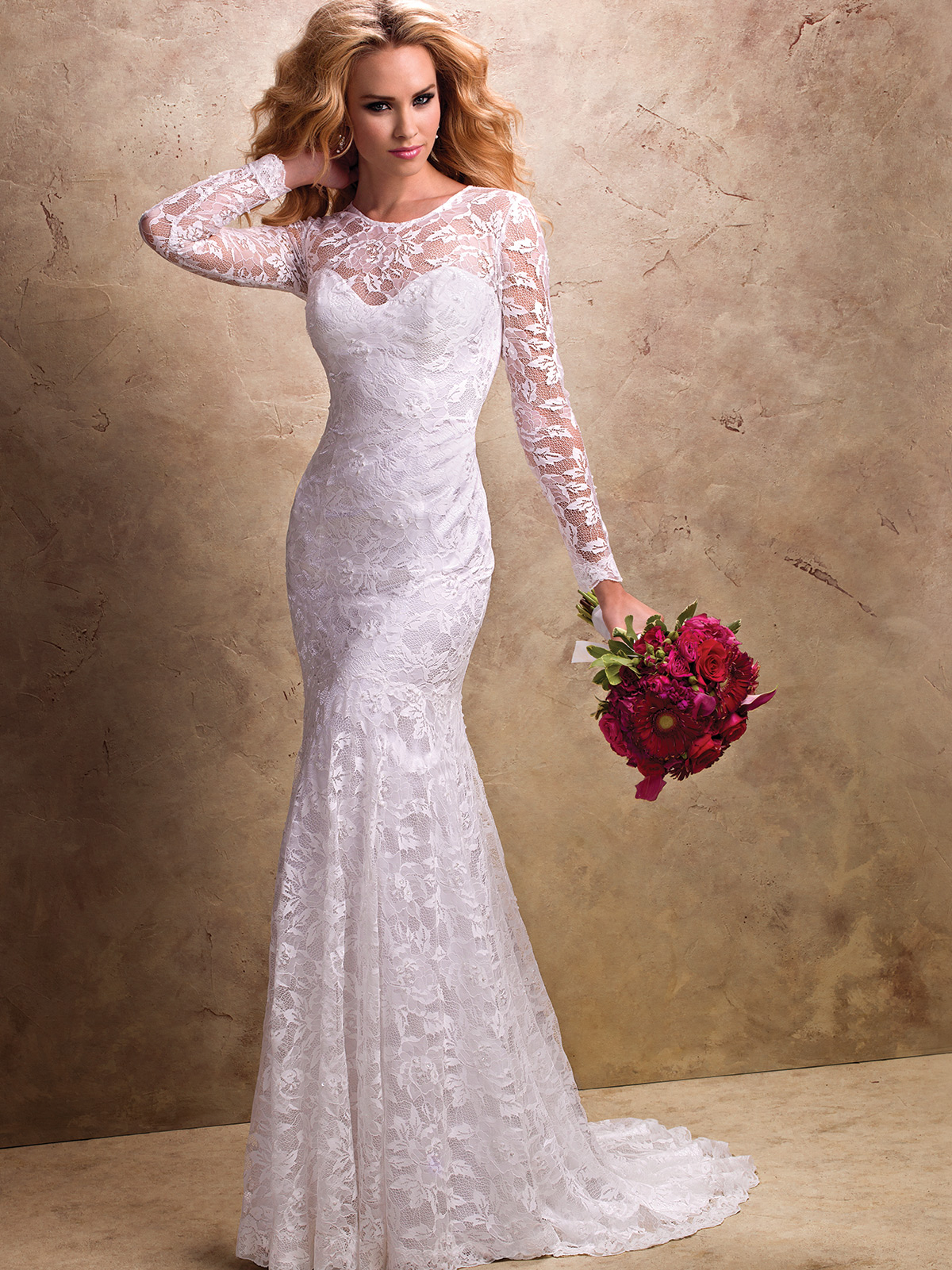 White Wedding Dresses With Lace Sleeves 86