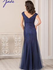 Jade J185001 Square Neckline Lace Mother Of The Bride Dress