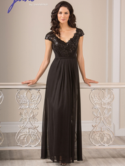 Jade J185007 V-neck Embroidered Lace Mother Of The Bride Dress
