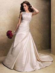 Lace Boat Neckline Jacket Maggie Sottero Bridal Gown Benita