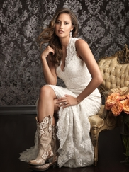 Lace Covered Allure Bridals Fitted Wedding Dress 9019
