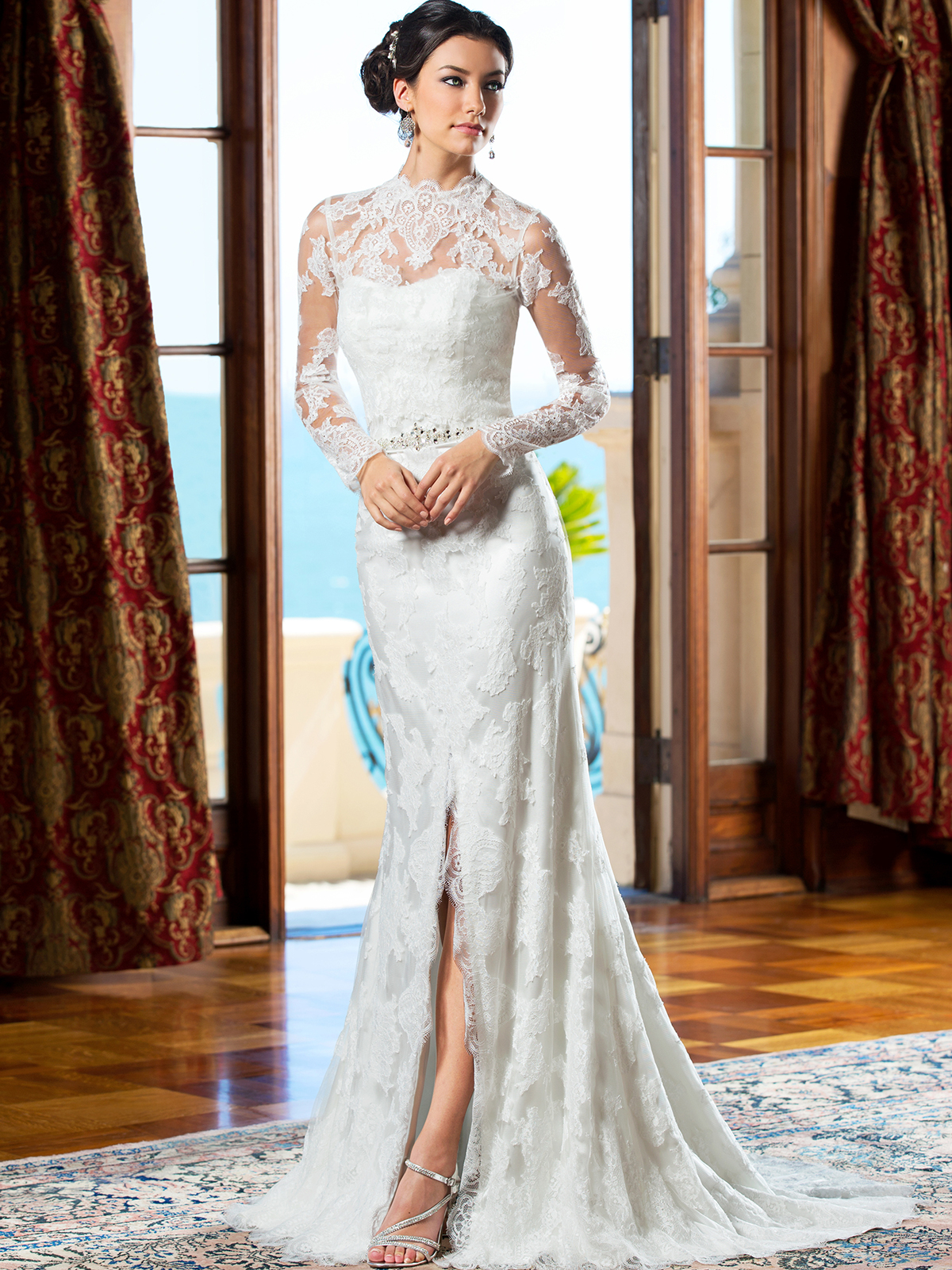 wedding dresses lace sleeved kitty chen wedding dress doris day k1410