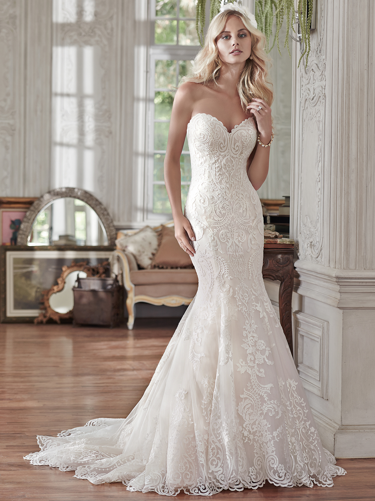 maggie sottero rosamund sweetheart lace fit and flare