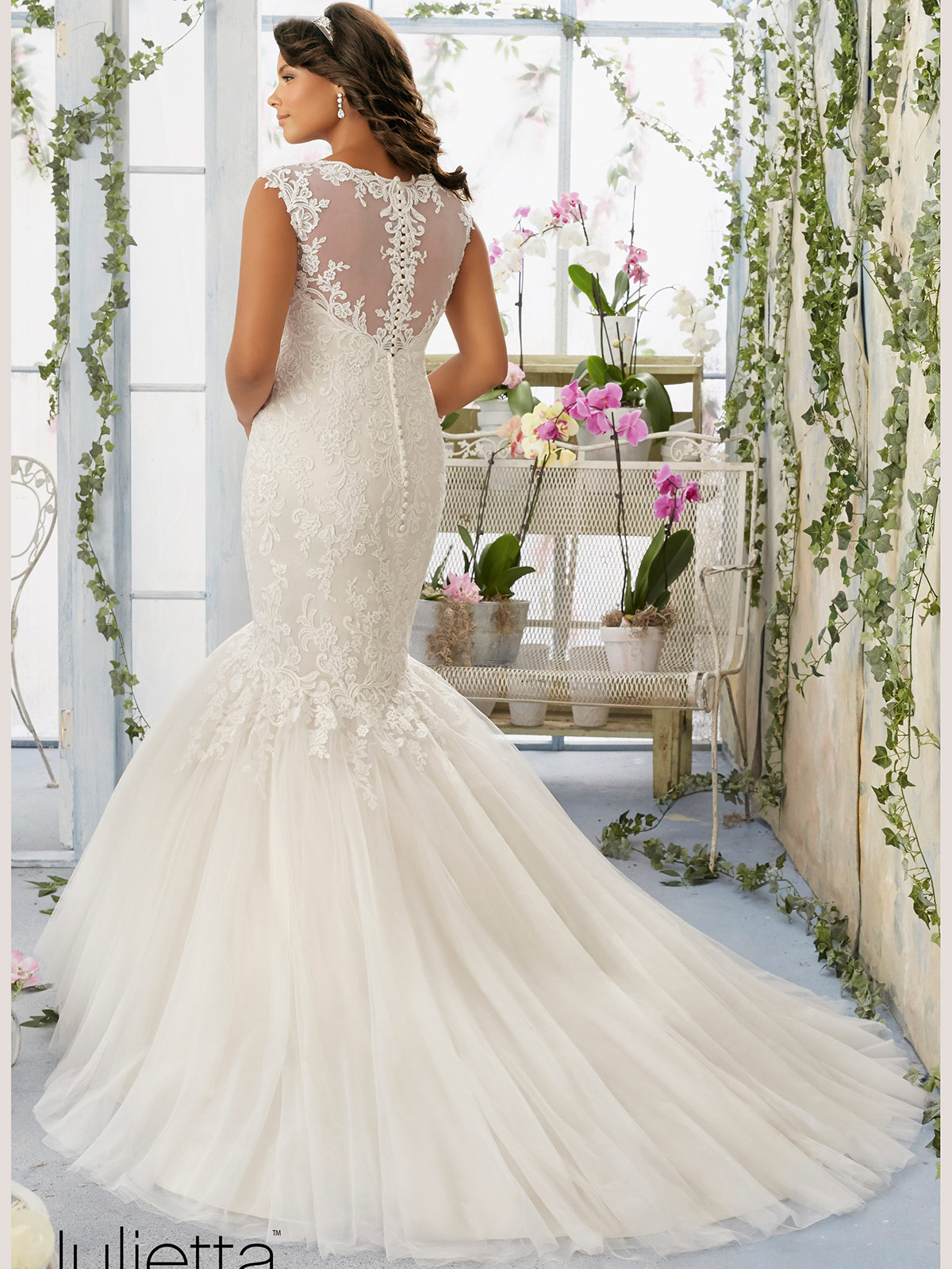 Mori Lee Julietta 3192 Cap Sleeves Tulle Mermaid Bridal