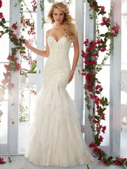 Mori Lee Voyage 6813 Sweetheart Embroidered Lace Wedding Dress
