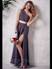 One Shoulder Chiffon A-line Christina Wu Occasions Bridesmaid Dress 22660