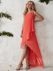One Shoulder Chiffon High Low Christina Wu Occasions Bridesmaid Dress 22673