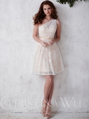 One Shoulder Lace Short Christina Wu Occasions Bridesmaid Dress 22669