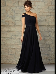 One Shoulder Ruched Floor Length A-line Angelina Faccenda Bridesmaid Dress 20455