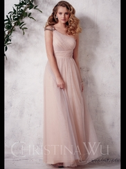 One Shoulder Tulle Floor Length Christina Wu Occasions Bridesmaid Dress 22646