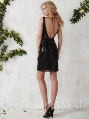 Open Back Sequin Short Christina Wu Occasions Bridesmaid Dress 22686