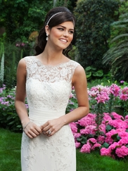 Sabrina Neckline Chiffon Pleaded Waist Lace Sincerity Bridal Gown 3730