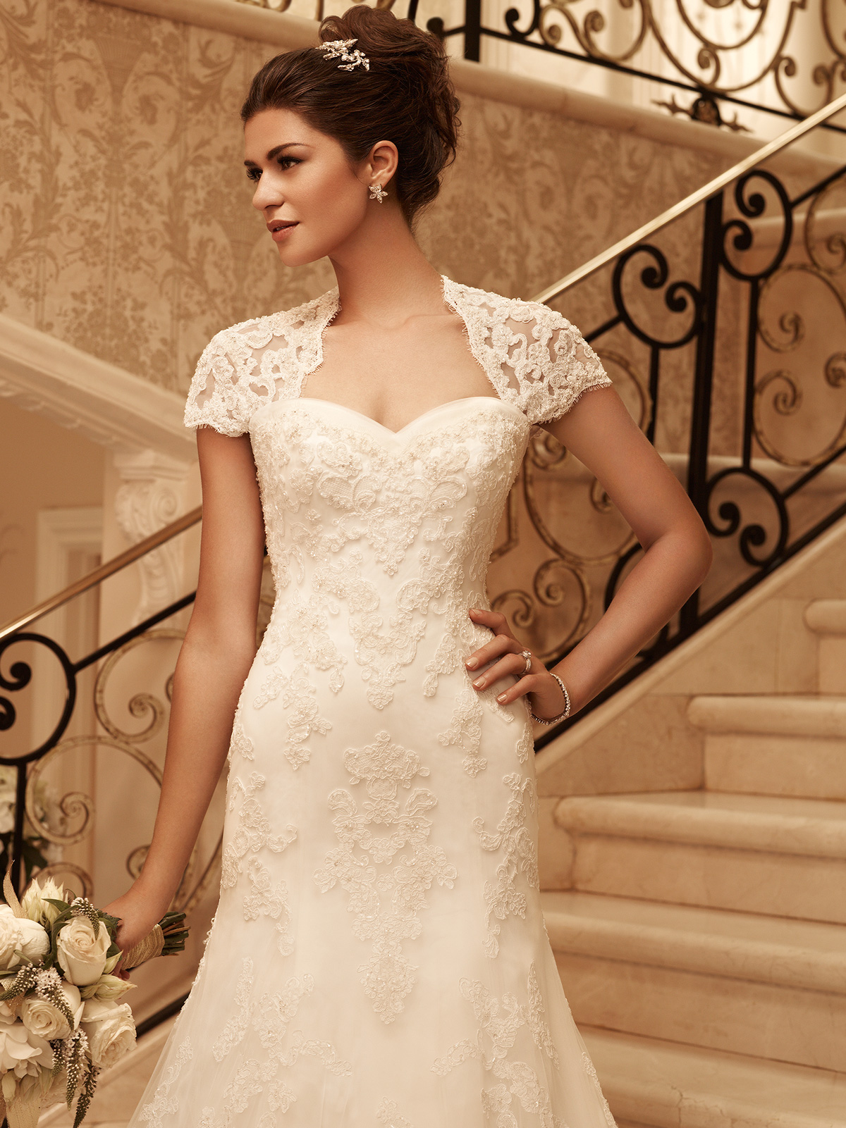 Short Sleeve Fit And Flare Casablanca Bridal Gown 2102 Dimitradesigns Com